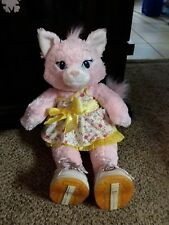 Pink Buildabear cat used, dressed