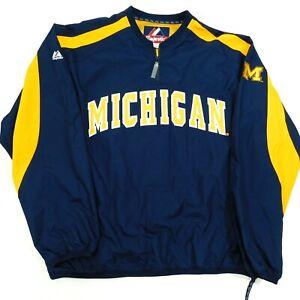 MAJESTIC Michigan Wolverines Vintage Windbreaker Pullover Jacket 1/4 Zip XL