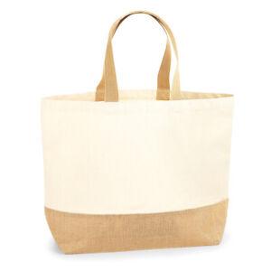 Westford Mill 29L Premium Jute Base Cotton Canvas Tote XL Beach Shopper Bag