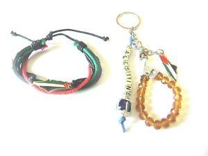 2 Pcs Palestine Map unisex Leather Bracelet Wristband & beaded keychain keyhold