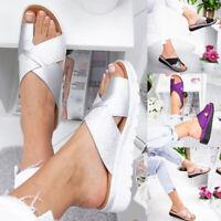 Womens Slip On Wedge Low Heel Sandals Ladies Platform Toe Ring Slippers Shoes
