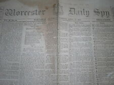 GENUINE LINCOLN ASSASSINATION NEWSPAPER FROM WORCESTER, MASS. - APRIL 15, 1865!