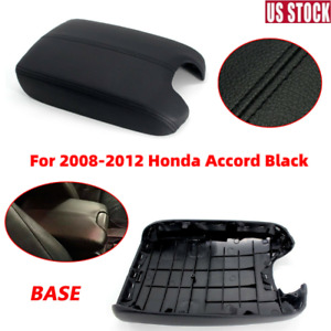 Black Arm Rest Armrest Center Console Lid Cover+BASE For Honda Accord 2008-2012