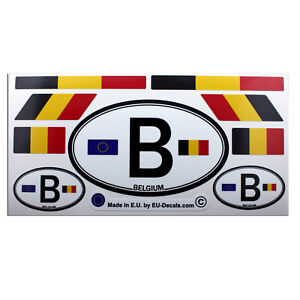 Set of 9 Belgium flags & letter B car country sign Laminated Decals Stickers