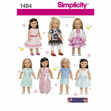 "Simplicity Sewing Pattern 1484 Dolls Clothes to fit approx 18 "" 45.5 cm  dolls"