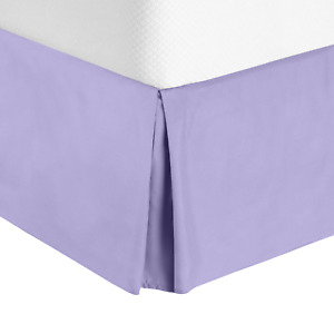 """Solid Luxury Pleated Tailored Bed Skirt - 14"""" Drop Dust Ruffle, Full XL-Lavender"""