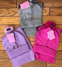 New Berkshire Girls 3 Piece Solid Scarf Hat Gloves Set Faux-Fur, One Size