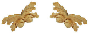 Small Oakleaf Onlay with Two Acorns, Carved Wood Applique Matched Pair, PN969