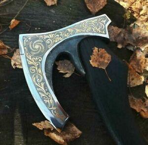Custom High Carbon Steel Handmade Axe with Wood Handle Razor Sharp Edge 17''