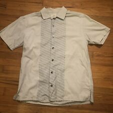 Paradise By Axis Short Sleeve Shirt Button Down S Off white Blue Striped B24