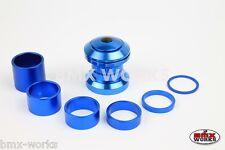 "BMX Headset & Spacer Kit 1 1/8"" Threadless Blue Anodized Aluminium - BMX Works"