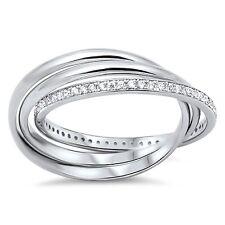 Sterling Silver Channel Cz with Plain Band Sizes 4-9