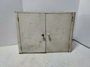 ANTIQUE INDUSTRIAL STEEL METAL MEDICINE CABINET white Apothecary Steampunk
