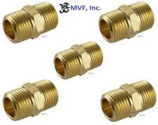 """3/4"""" Brass Hex Pipe Nipple NPT Threaded Connector Adapter (5-Pack) <122A-Ex5"""