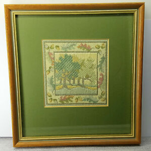 Hand embroidery framed picture Signed and dated. Autumn Oaks.