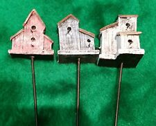 New listing Miniature Dollhouse Fairy Garden Bird Houses Set of 3