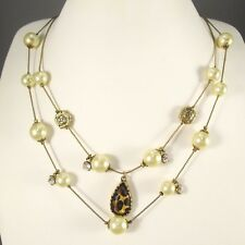 BETSEY JOHNSON 2 Gold Tone Layered Chains Faux Pearls Rhinestones Necklace  #462