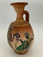 """Vintage Handmade Pottery Vase Pitcher Decor Made In Greece 7"""" High"""