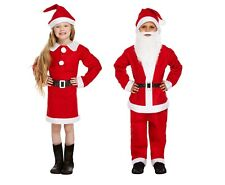 Father Christmas Santa Claus Suit Beard Costume Outfit Childrens Girl Dress S ML