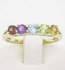 9K Solid Yellow Gold Multi Colour Stone Ring + 12 Months Warranty