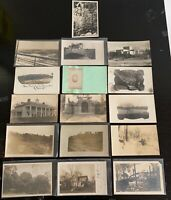 Lot of 16 Original Vintage Postcards - All RPPC - Houses, Gate, Wreckage, Snow+