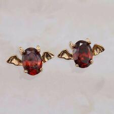 Yellow Golden Filled Stud Earrings h2950 Cute Nice Bat Garnet Red Gems Jewelry
