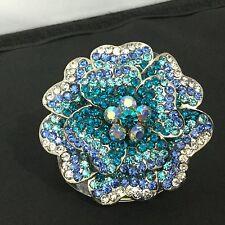 Stunning Stretch Statement Ring Blue Silver Rhinestones  Bling Fashion Jewelry