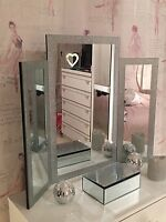 Glitter Silver Sparkle Tri-Fold Dressing Table Mirror Bevelled Edge