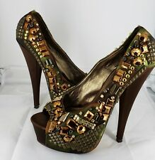 WILD PAIR GLAMM HEAVILY STUDDED CAMO GREEN PEEPTOE PLATFORMS size 9