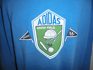 vintage 80s Adidas sweatshirt polo green field oldschool sport pulli 80er D7 L