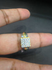 0.75 Cts Round Brilliant Cut Natural Diamonds Men's Ring In Fine 14K Yellow Gold