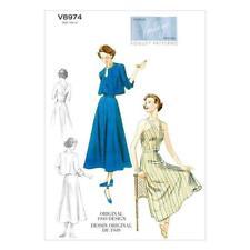 Vogue Sewing Pattern 8974 (6-14) (14-22) Misses Retro Dress 40s Vintage Model