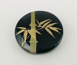 Vintage Round Wood Lacquer Pin Brooch Black Gold Bamboo Plant Leaf
