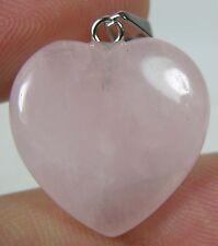 #1 18.50Ct Brazil 100% Natural Rose Quartz Heart Shape Pendant 3.70g 19mm 3/4 in