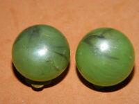 @@@Wunderschöne alte Ohrringe Clipse grünes Bakelit Schmuck@@@