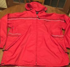 Sean Jean Red Spell Out Logo Nylon Jacket Rain Coat Spring Weight Windbreaker XL