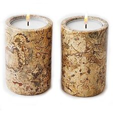 x 2 cream marble tea light candle holder - home garden party & barbeque fab gift