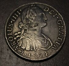 MEXICO SPANISH COLONIAL CHARLES IIII 1804 MO T.H. 8 REALES D Punched  Date