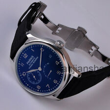 Parnis 43mm  Power Reserve Blue Dial Deployment buckle Automatic Men's watch 9