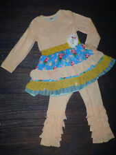 NEW Boutique Girls Pink Ruffle Tunic Dress Leggings Outfit