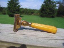 Schick Injector Type E 1935-1945  SE Safety Razor Butterscotch Handle Gold Tone