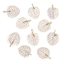 Shiny Light Pink Glass Leaf Charm Pendants 16x12mm Pack of 10 (B65/2)