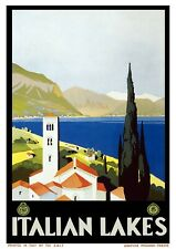 "Reproduction Vintage ""Italian Lakes"" Poster, Home Wall Art, Size A2"