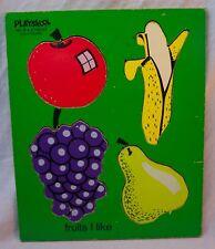 VINTAGE PLAYSKOOL FRUITS I LIKE 4 Piece WOODEN FRAME TRAY PUZZLE 155-18
