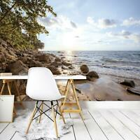 Vlies Fototapete Tapete Poster   F19055 Meer Strand Landschaft Baum Felsen Wasse