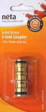 Neta Brass Hose Coupler 2 End for 12mm Click on Garden Water Fitting Quality