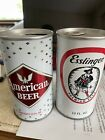 ESSLINGER AND AMERICAN STRAIGHT STEEL PULL TAB BEER CANS 1970s