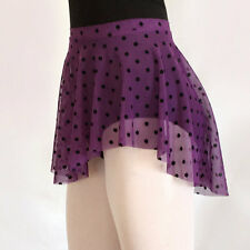 Ballet Dance Skirt Black Dots On Purple Mesh Stretch SAB Wrap Look Circle Adult
