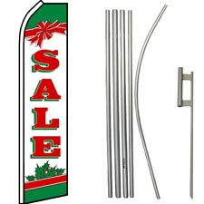 Sale Christmas Red / White / Green Swooper Flag & 16ft Flagpole Kit/Ground Spike