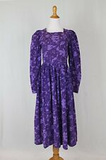 Vintage LAURA ASHLEY Purple Corduroy Georgian Square Neck Long Sleeve Dress 10 M